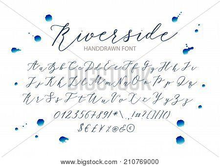 Riverside - handwritten Script font. Hand drawn brush style modern calligraphy cursive typeface. Vector Brush type set. poster