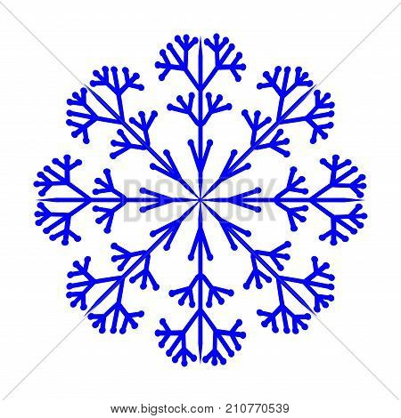Snowflake sign. Blue ice icon isolated on white background. Image of snow season. Winter design. Cold ornament symbol. Logo for christmas or frozen celebration. Stock vector illustration