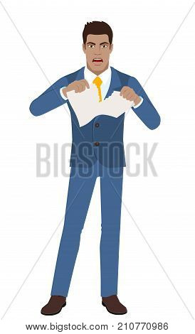 Businessman breaks the contract. Full length portrait of Black Business Man in a flat style. Vector illustration.