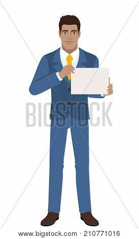 Businessman showing a a paper. Full length portrait of Black Business Man in a flat style. Vector illustration.