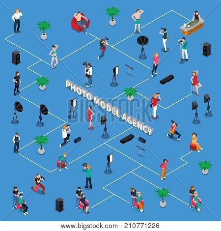 Photo model agency isometric flowchart with adults, teens, photographers with equipment, stylists on blue background vector illustration