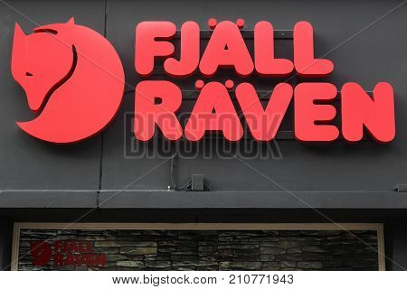 Aarhus, Denmark - April 4, 2017: Fjallraven logo on a wall. Fjallraven is a Swedish company specialising in outdoor equipment mostly clothing and rucksacks