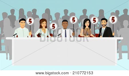 Vector illustration of professional competition judges jury holding tablets with estimates with silhouettes of people as viewers in flat style poster