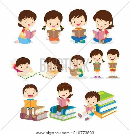 Cute Children Sitting while Reading Book.set of Childrens reading book various actions.