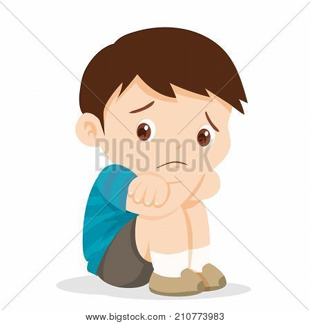 Sad boyDepressed boy looking lonely .Illustration of a sad child helpless bullying.