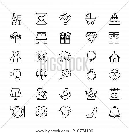 Vector illustration outline web icon set - wedding in white background. Wedding line icons