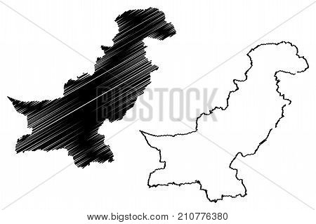 Pakistan map vector illustration ,.scribble sketch Pakistan