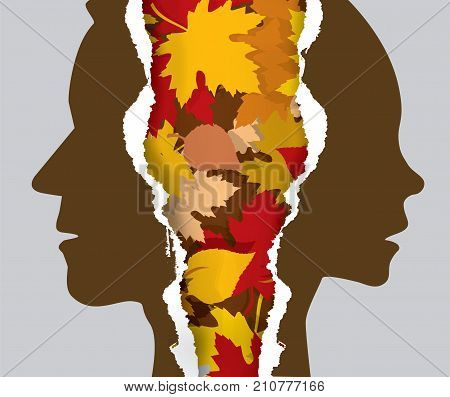 Divorce couple and autumn leaves.  Ripped paper with man and woman silhouettes and automn leaves symbolizing the end of the relationship.Vector available.