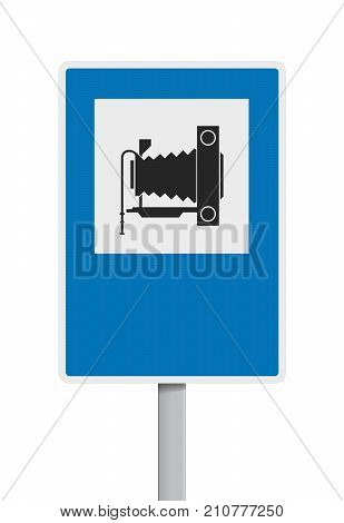 Vector illustration of Spanish photography or point of view road sign
