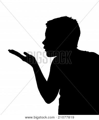 Isolated Boy Child Gesture Blowing Kiss