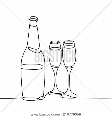Champagne Bottle And Two Glasses Isolated