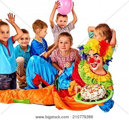 Birthday child clown playing with children and bunny fingers prank. Kid holiday cakes celebratory and balloons happiest birthday. Fun of group people pose for camera on isolated.