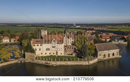 Aerial view of Flechtingen water castle in Saxony-Anhalt, Germany