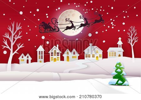 Paper cut and craft winter landscape with evergreen tree, houses, moon and Santa Claus fly with deers. Holiday Web banner. Red Night background. Vector illustration.