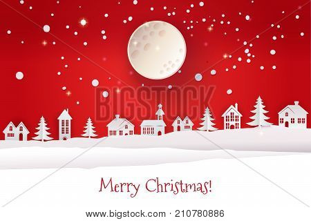 Paper cut out and craft winter landscape with evergreen trees, houses, moon. Holiday Web banner. Red Night background. Vector illustration. Marry Christmas typography greetings.