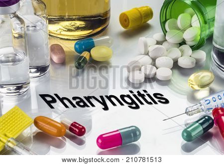 Pharyngitis, Medicines As Concept Of Ordinary Treatment, Conceptual Image