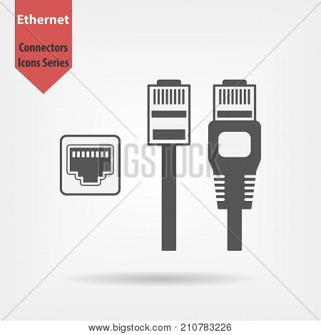 Ethernet connectors and socket with cable symbol for download. Vector icons for video mobile apps Web sites and print projects.