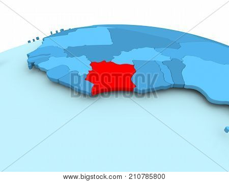 Map of Ivory Coast in red on blue political globe. 3D illustration. poster