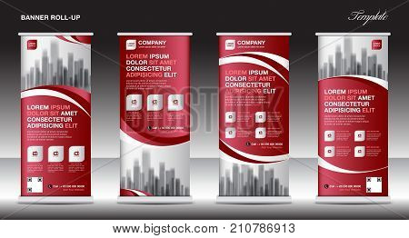 Roll up banner stand template design, red banner layout, advertisement, pull up, polygon background, vector illustration, business flyer, display, x-banner, flag-banner, infographics, presentation