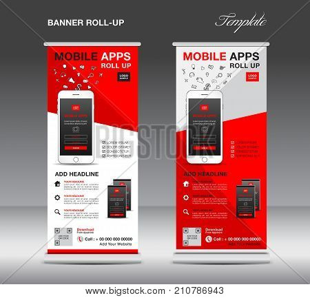 MOBILE APPS Roll up banner template, stand layout, red banner, application presentation, infographics, advertisement, flyer, x-banner, j-flag, poster, advertisement, print media advertising