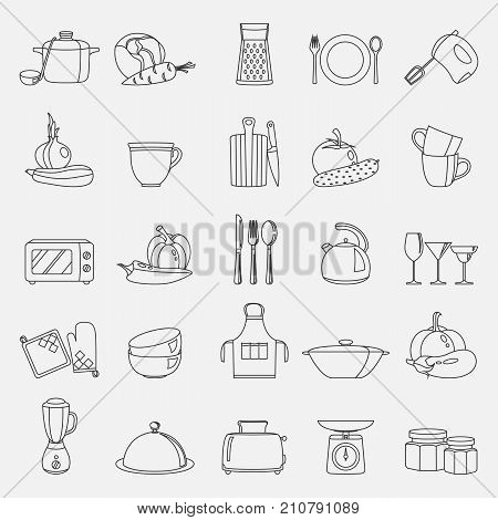 Vector line illustration of kitchen utensils, household appliances and food