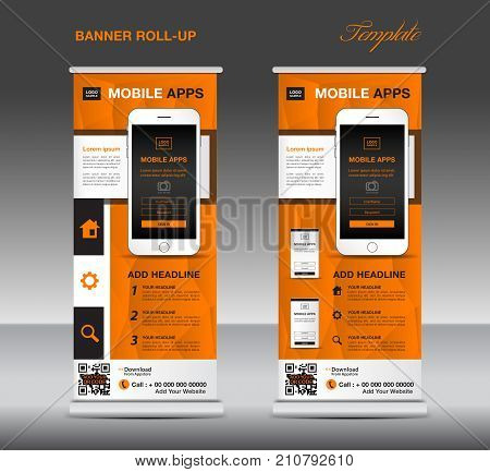 MOBILE APPS Roll up banner template, stand layout, Orange banner, application presentation, infographics, advertisement, flyer, x-banner, j-flag, poster, advertisement, print media advertising