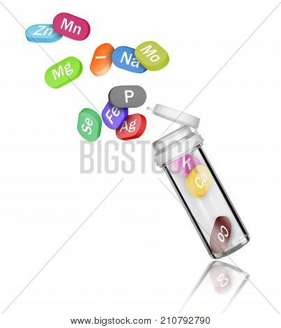 Group of chemical minerals and microelements in the form of pills fly out of the bottle