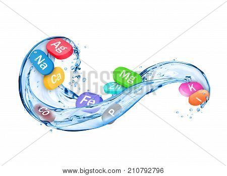 Group of chemical minerals and microelements in the form of pills with splashes of water