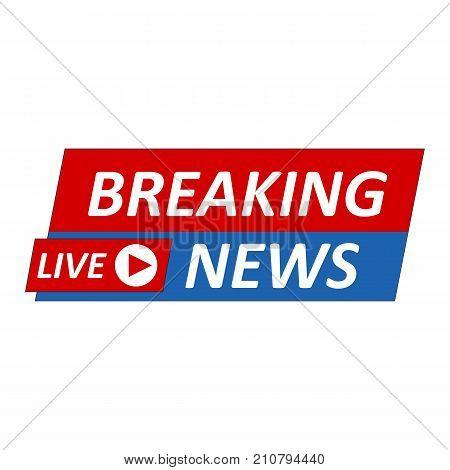 Breaking News Logo, Live Banner.tv News, Mass Media Design.