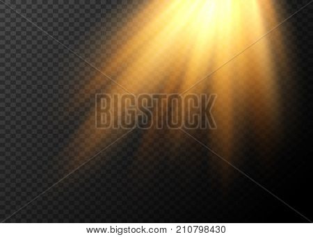 Realistic sun rays. Light effect. Warm orange flare effect. Sunshine, sunbeam. Falling rays of light.