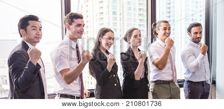 Portrait Of Confident Business People Group Standing In Row Teamwork Multicultural And Togetherness