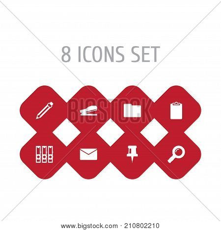Collection Of Puncher, Zoom Glasses, Information And Other Elements.  Set Of 8 Tools Icons Set.