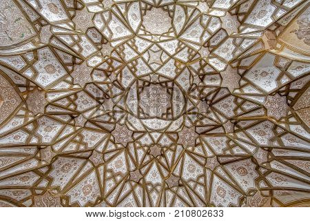 Ceiling decoration in Jame mosque at Nain is one of the oldest mosque in Iran.