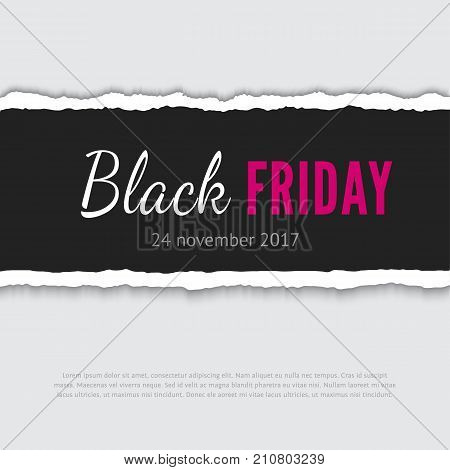 Black friday vector banner. Realistic vector paper strip with teared edges
