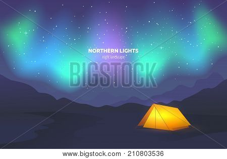 Camp tent under night sky. Landscape with beautiful northern lights. Vector illustration