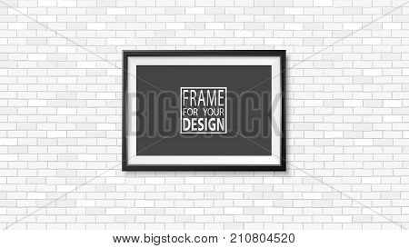 Frame on the wall. Photoframe mockup. Simple empty framing for your business design. Brick wall. Vector template for picture painting poster lettering or photo gallery.