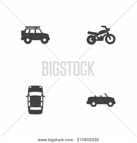 Collection Of Coupe, Hatchback, Panorama And Other Elements.  Set Of 4 Traffic Icons Set.