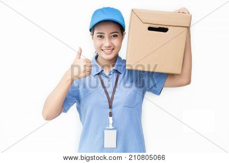Portrait of happy delivery asian woman her hands holding cardboard box isolated on white background young asian woman carry brown box delivery service concept