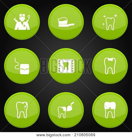 Collection Of Dental Crown, Halitosis, Procedure And Other Elements.  Set Of 9 Dentist Icons Set.
