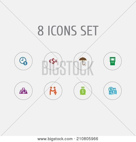 Collection Of Dollar, Meeting, Currency And Other Elements.  Set Of 8 Budget Icons Set.