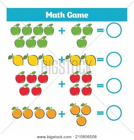 Mathematics educational game for children. Learning subtraction worksheet for kids counting activity. Vector illustration