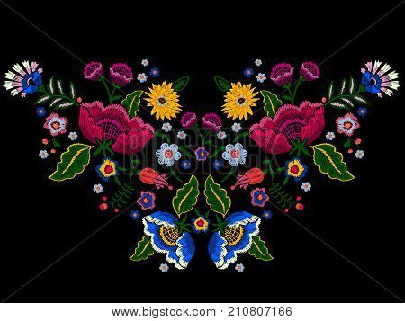 Embroidery native neckline pattern with simplify flowers. Vector embroidered traditional floral design for fashion wearing.