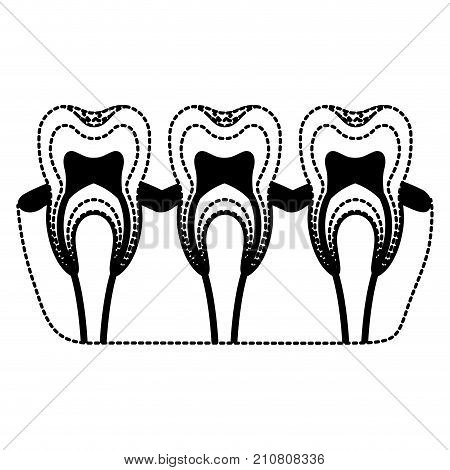 teeth with nerve and tooth root view in black dotted silhouette vector illustration