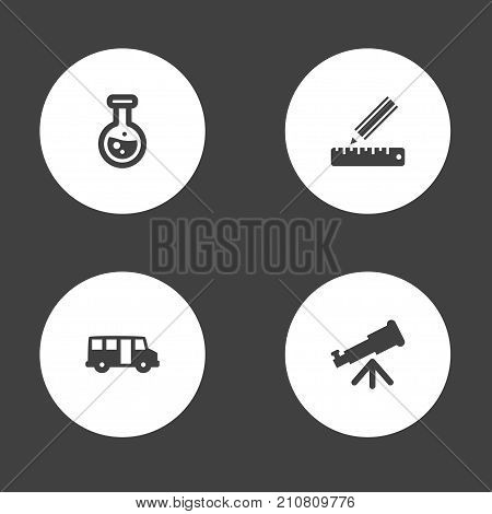 Collection Of Pencil, School Autobus, Flask And Other Elements.  Set Of 4 Education Icons Set.