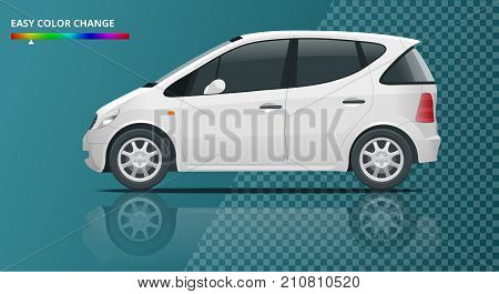 Small Compact Electric vehicle or hybrid car on transparent. Eco-friendly hi-tech auto. Easy color change Template vector isolated View side