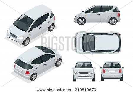 Small Compact Electric vehicle or hybrid car. Eco-friendly hi-tech auto. Easy color change Template vector isolated on white View front, rear, side, top and isometric