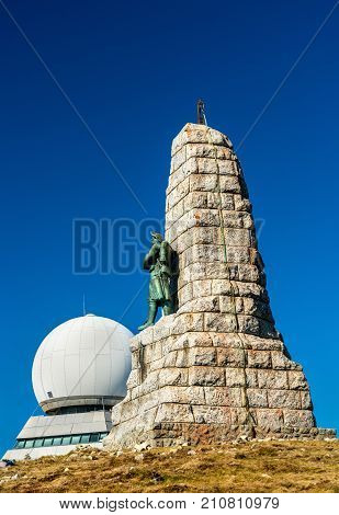 Monument to the Diables Bleus and an air traffic control radar station on top of the Grand Ballon. The highest mountain in the Vosges - Alsace, France