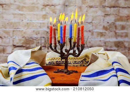 Hanuka Menorah With Burning Candles.
