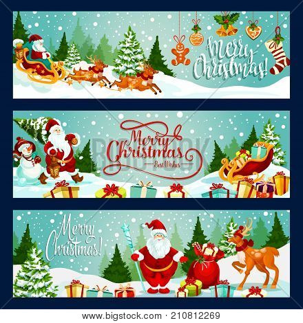 Merry Christmas greeting and wishes banners for winter holiday season design. Vector Santa with gifts bag, reindeer and sleigh at Christmas tree, New Year decoration holly wreath, sock and golden bell