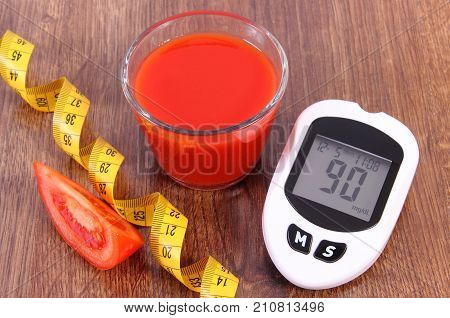 Glucose Meter For Measuring Sugar Level, Centimeter, Fresh Tomato And Tomato Juice, Healthy Nutritio